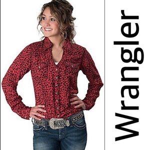Wrangler Red and Black Leopard Print Shirt Medium